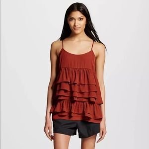 Who What Wear Ruffle Tiered Rust Cami Top Small